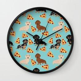 dachshund pizza multi coat doxie dog breed cute pattern gifts Wall Clock