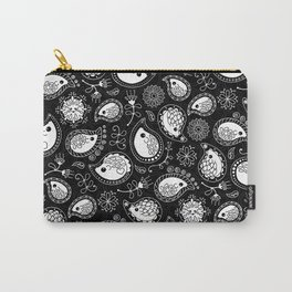 Hedgehog Paisley_White and Black Carry-All Pouch