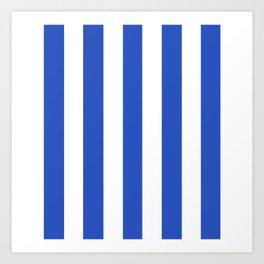 Cerulean blue - solid color - white vertical lines pattern Art Print