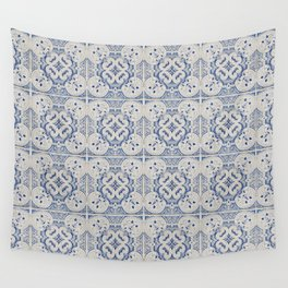 Vintage blue tiles pattern Wall Tapestry