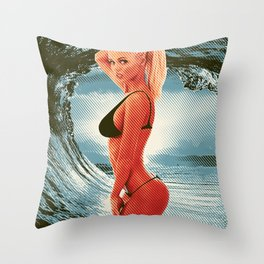 blonde girl sexy ass babe pinup boobs girl chick sexy hot nasty tits nude naked bed mouth skirt Throw Pillow