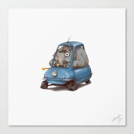 Driving Animals~ Elephant in a Peel P50 Canvas Print