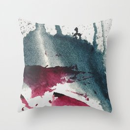 Disrupt: a minimal, abstract mixed media piece with bold strokes of magenta on blue Throw Pillow
