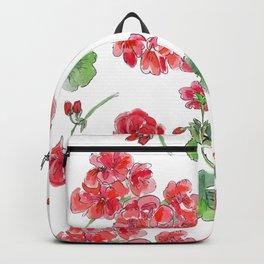 Red Geranium Pattern Backpack