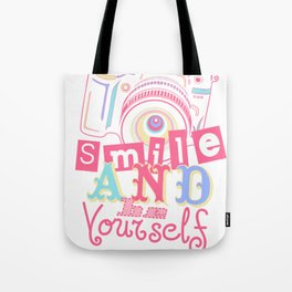 Smile and be Yourself - Pastel Camera Tote Bag