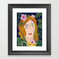 Pop Girl Portrait with Flowers and Leaves Decoration Framed Art Print