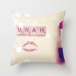 MWAH Lipstick Rose Scrabble Throw Pillow