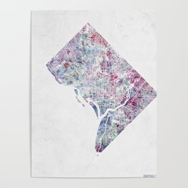 District of Columbia map 2 Poster