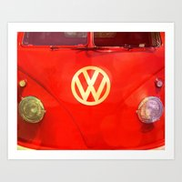 vw bus Art Prints featuring VW Bus by AndreaClare