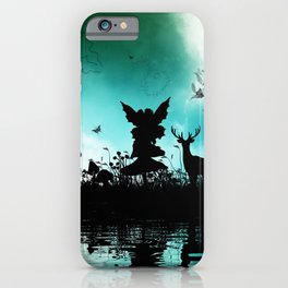 Litte fairy with deer in the night iPhone Case