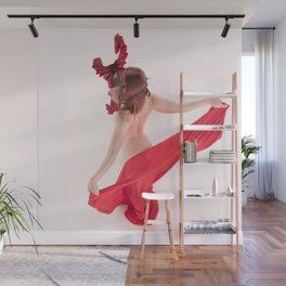 1568s-MM Bare Woman in Mask and Red Cloth Square High Key Art Nude Wall Mural