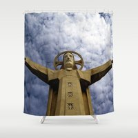 jesus Shower Curtains featuring Jesus by FranzyCat