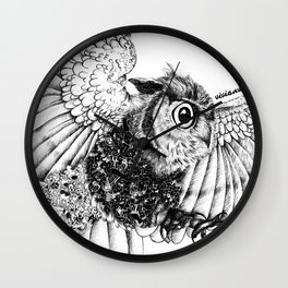 Black & White Zentangle Owl Pen Drawing Wall Clock