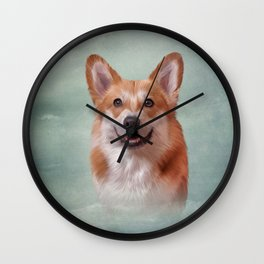 Drawing Dog breed Welsh Corgi portrait Wall Clock