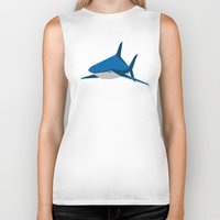 shark Biker Tanks featuring Shark by Mr. Peruca