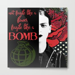 Frida Kahlo Art  Feminist Gifts  Strong Women  Gifts for Her  Boss Babe  Inspiring Quotes Metal Print