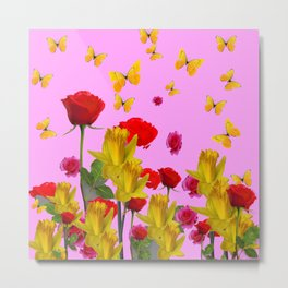 DECORATIVE YELLOW BUTTERFLIES, RED ROSES, DAFFODILS SPRING FLOWERS Metal Print