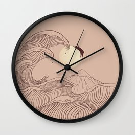 The great wave of black cat moonlight Wall Clock
