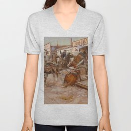 """""""In Without Knocking"""" by Charles M Russell Unisex V-Neck"""