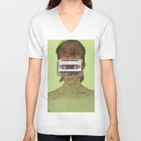aladdin V-neck T-shirts featuring Taped Over Aladdin Sane by AudioVisuals