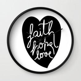 Faith, Hope, love - Black Wall Clock