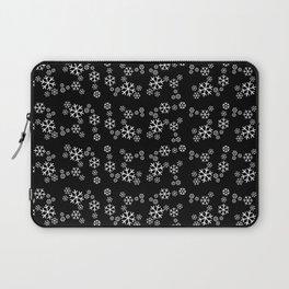 Snowflakes - black background Laptop Sleeve