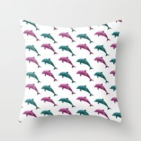 Throw Pillows featuring Dolphins by ACIDWINZIP