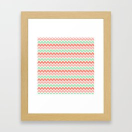 Coral Orange and Peach Pink and Mint Green Chevron Framed Art Print