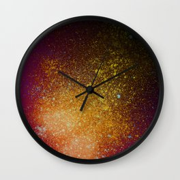 Tangerine Orange and Burgundy Spray Paint Splatter Wall Clock