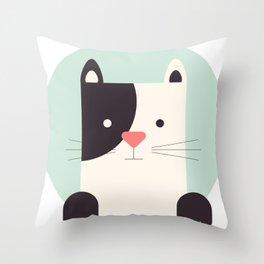 Cartoon Abstract Cat Throw Pillow