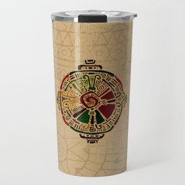 Colorful Hunab Ku Mayan symbol on cotton Travel Mug