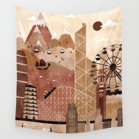 travel poster Wall Tapestries featuring Hong Kong Travel Poster Illustration by ClaireIllustrations