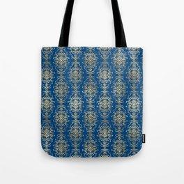 Elegant Blue and Gold Royal Damask Rows Pattern Tote Bag