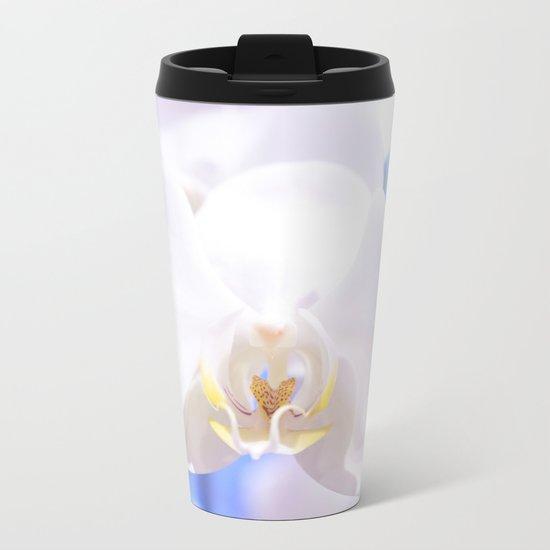 White Orchid Close-up #1 #decor #art #society6 Metal Travel Mug