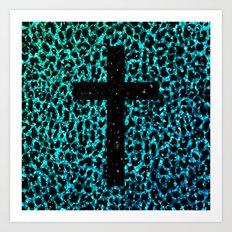 Aqua Sparkle Leopard Cross Art Print
