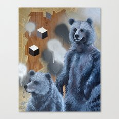 Black Bears Cubed Canvas Print