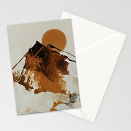 abstract mountains, rustic orange sunrise Stationery Cards