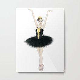 Black Swan Ballerina Metal Print
