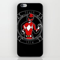 power ranger iPhone & iPod Skins featuring Power Crew Red Ranger by zombieCraig by zombieCraig