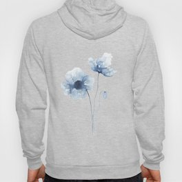 Blue Watercolor Poppies Hoody