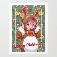 madoka magica Art Prints featuring Xmas Madoka Magica by Neo Crystal Tokyo