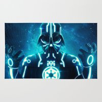 tron Area & Throw Rugs featuring Tron Vader Blue by dracorubio