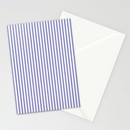 Navy Blue on White Mattress Ticking Stripes Stationery Cards