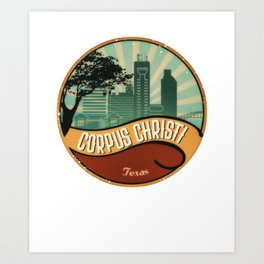 Corpus Christi City Skyline Texas Retro Design Vintage 80s Art Print