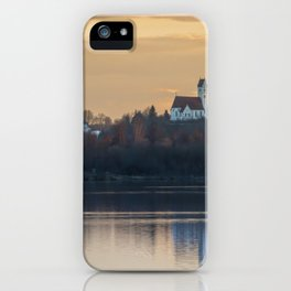 Nature lake and view to St.Martins Church iPhone Case