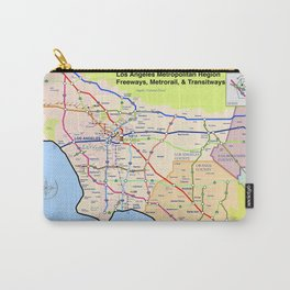 A subway style Map of Los Angeles Carry-All Pouch