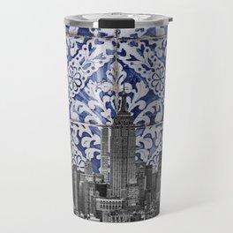 New York City Manhattan Skyscrapers Meet Portuguese Tiles - Azulejo Blue and White Floral Leaf Design Travel Mug