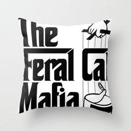 The Feral Cat Mafia (BLACK printing on light background) Throw Pillow