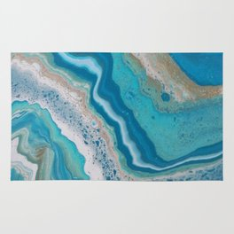 Turquoise River, Abstract Fluid Acrylic Painting Rug