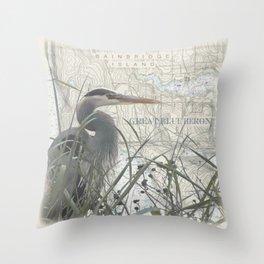 Heron blanket Throw Pillow